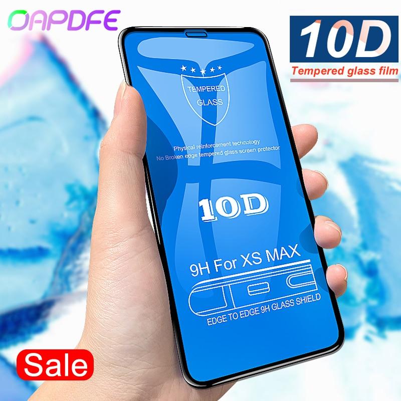 OAPDFE 10D מלא כיסוי מזג זכוכית עבור iPhone X 10 XR XS מקסימום מסך מגן עבור iPhone 6 6 s 7 8 בתוספת סרט הגנת זכוכית