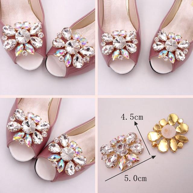 02d4ae0d0e7d 1pcs 4.5x5cm Glass   Resin Rhinestone Shoes Resin Flower Applique Chain  Crystals Rhinestones Applique For