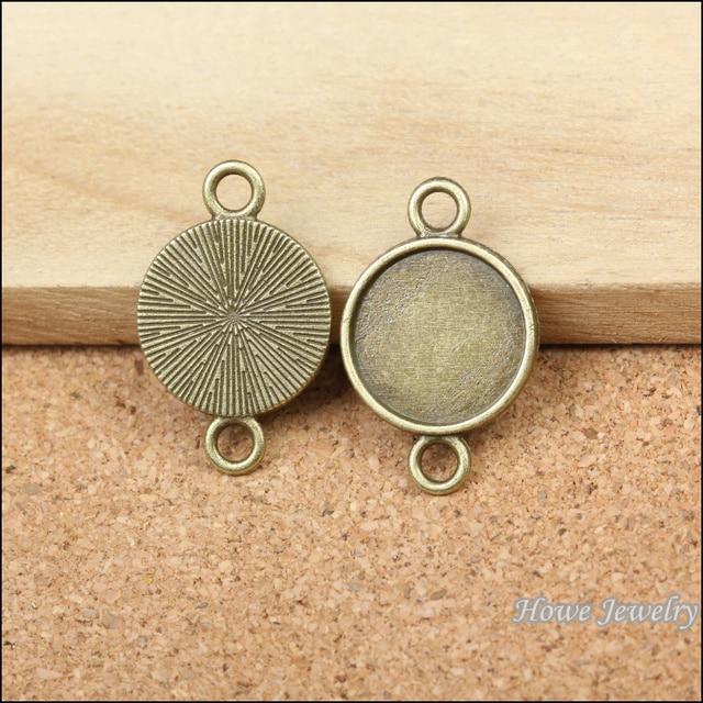28 unids calidad bronce antiguo solo lado marco circular conector ...