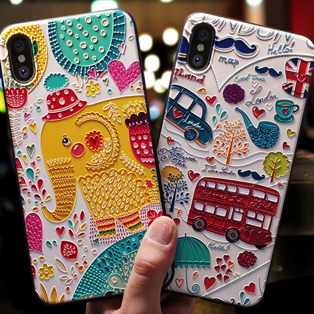 Embossed Cartoon Patterned Phone Case for iPhone