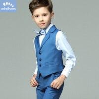 Children clothing suits formal Toddler Boys Blue 4pcs/set Wedding Groom/Show/Birthday party Blazer Suit gentlman clothes Sets