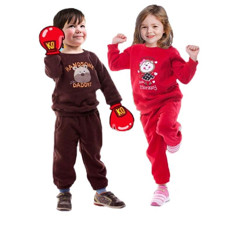 Fashion Children Clothing Set Cartoon Boys Girls Thicken Sports Suits Wear Kids Sweater Sweatshirt Tracksuit 1-5 Years Clothes