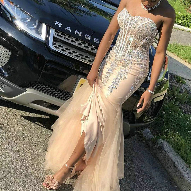New Arrival Mermaid Evening   Dress   2019 Sweetheart Off Shoulder Sexy Backless Long   Prom     Dress   Tulle Luxury Beading Party Gown