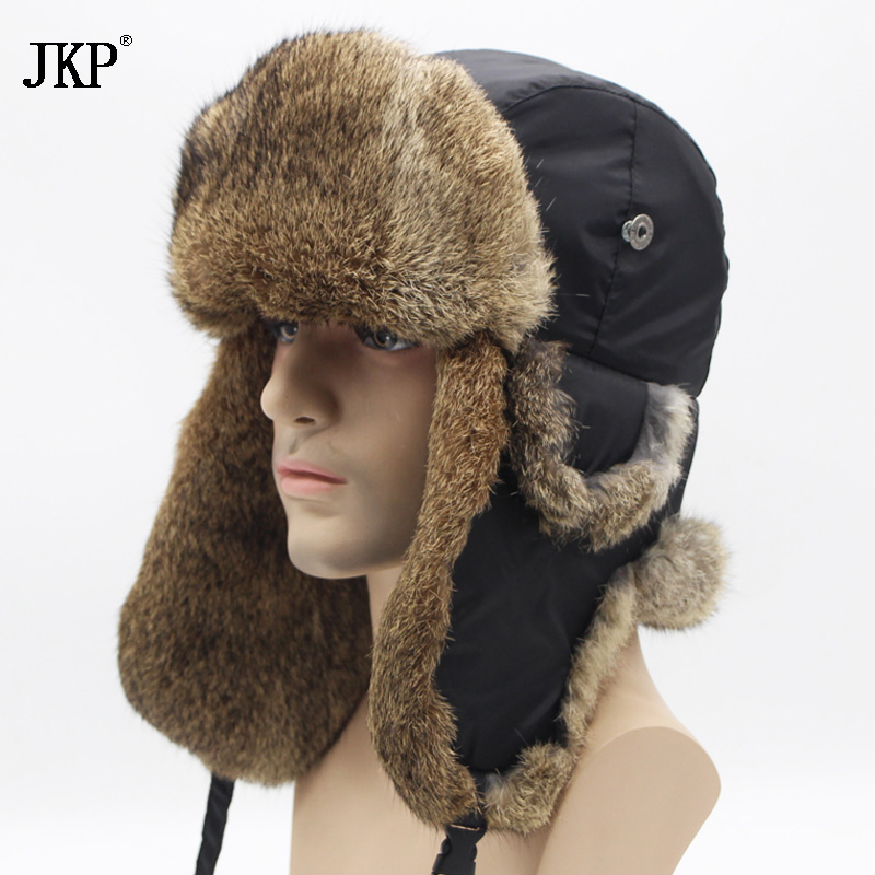 Bomber Trapper Hats Thick Winter Warm Rabbit Fur Hat Rex Snow Caps Ear Flap Caps Ushanka Russian  For Men(China)