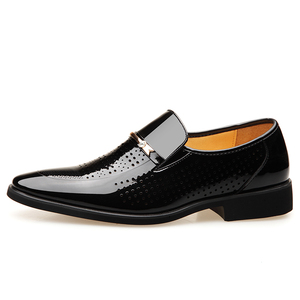 Image 2 - 2019 Summer Pointed Toe Men Dress Shoes Breathable Black Wedding Shoes Formal Suit Office Shoes Man Patent Leather Oxfords