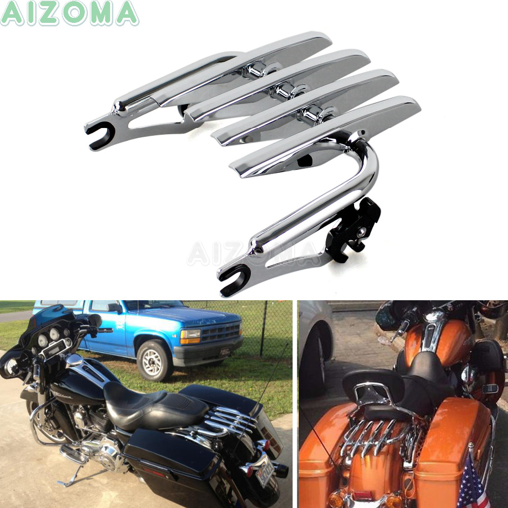 Chrome Detachable Two up Luggage Rack Motorcycle Tour Pack Rack For Harley Touring Road King Electra