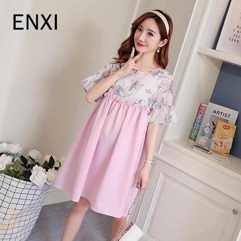 ENXI Floral Printed Cotton Maternity Dress Summer Autumn Fashion Nursing Clothes For Pregnant Women Pregnancy Clothing Sweet