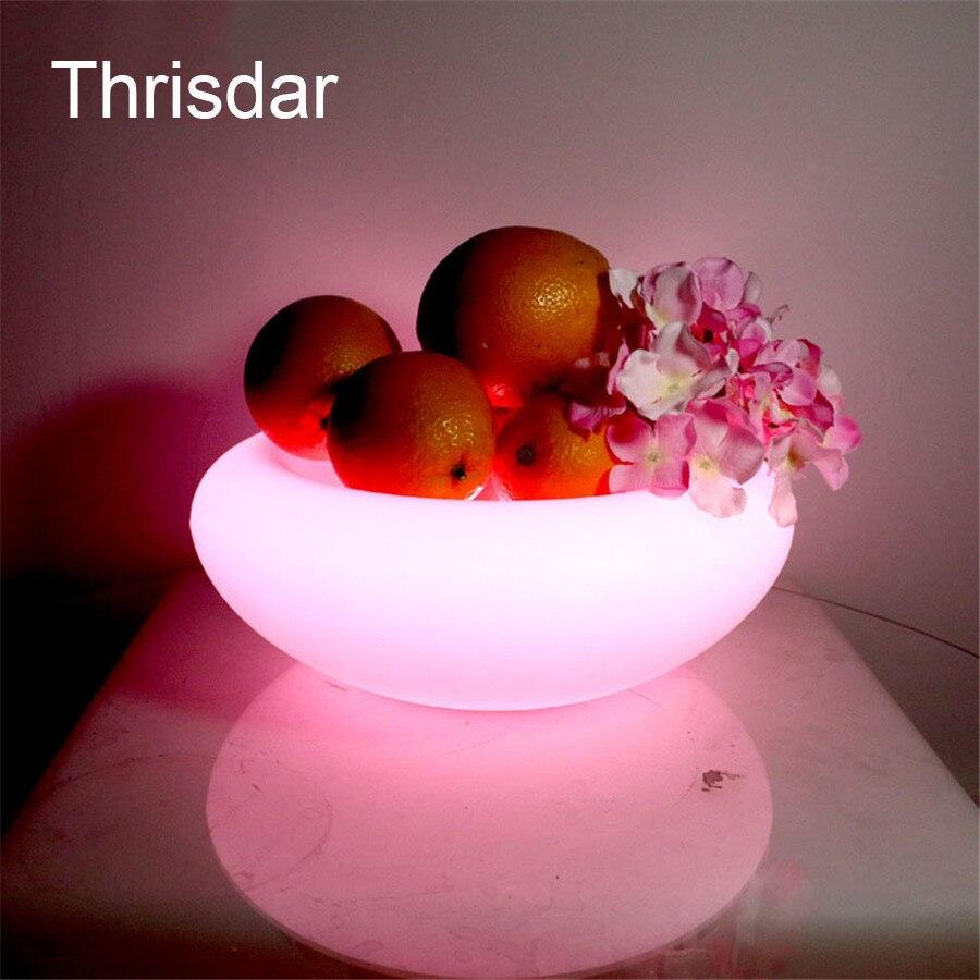 Thrisdar RGB Rechargeable Led illuminated Fruit Plate LED Furniture Bar KTV Serving Tray Fruit Dish 24Key