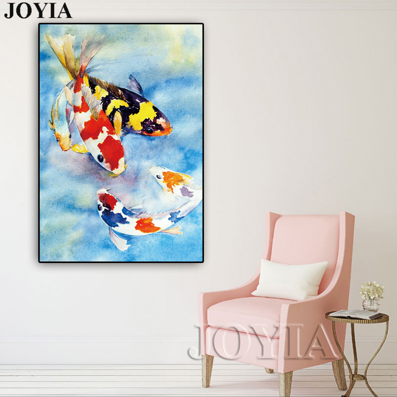 Color Koi Fish Canvas Wall Art Lucky Fishes Wall Painting