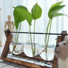 Glass and Wood Vase Hanging Flower Pots Planter Terrarium Table Desktop Hydroponics Plant Bonsai Pot Wooden Tray Dropshipping