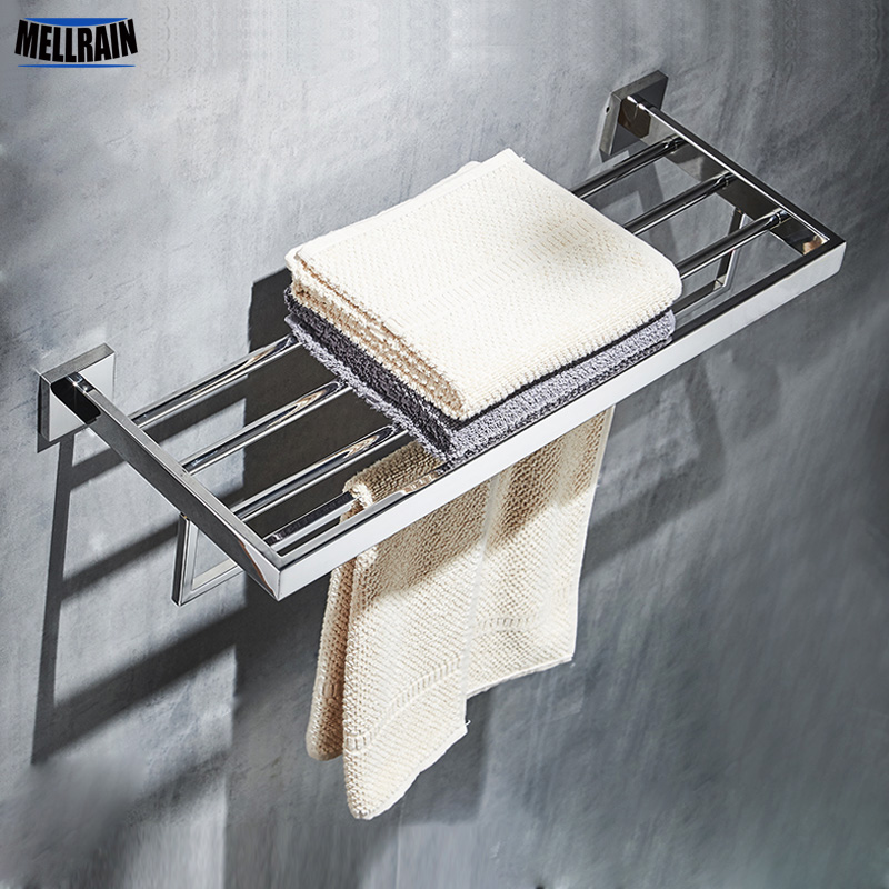 Bathroom Square Bath Towel Rack Stainless Steel Mirror Polishing Chrome Quality Wall Mounted Towel Rail Holder
