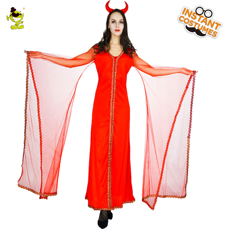 New Design Adult Gorgeous Red Devil Costumes with Gauze Sleeves Women Halloween Party Noble Devil Cosplay Long Dress