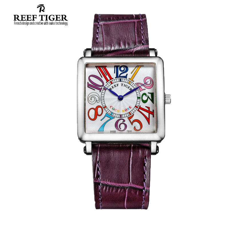 Reef Tiger/RT Watches Stylish Stainless Steel Watch with Leather Strap Colorful Arabic Numeral Quartz Watch for Women RGA173 arabic numeral ladies watch 2017