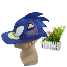 50 pcs/lot Sonic Adjustable Blue Baseball Hat Cap Cartoon Summer Plush Toy One Size Hot Selling  Christmas Gift
