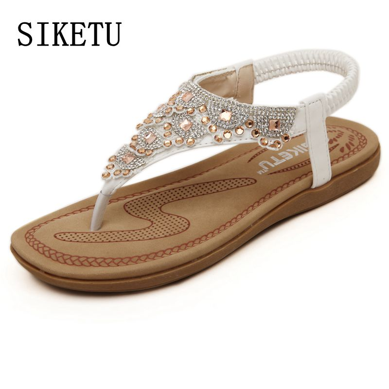 SIKETU Summer new sweet woman fashion diamond sandals women Bohemia sandals toe beach sandals casual comfortable flat sandals 2016 fashion summer women flat beaded bohemia ppen toe flat heel sweet women students beach sandals o643