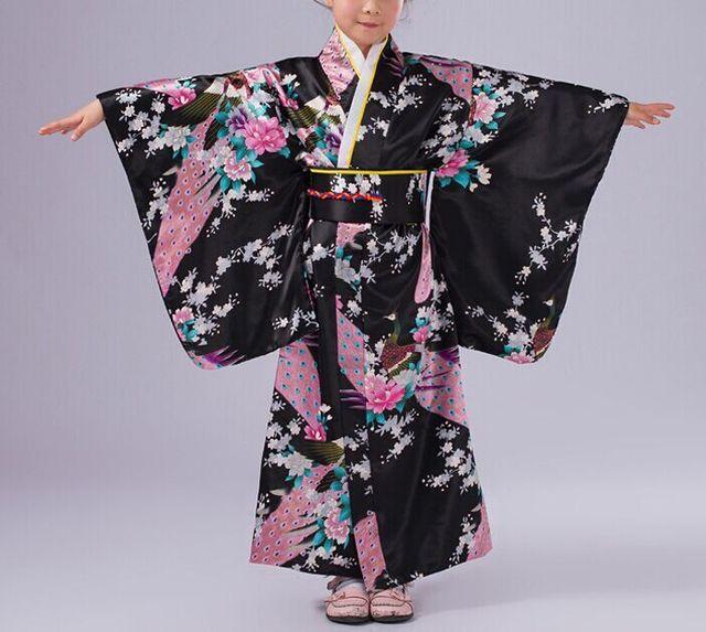 Black Children Yukata obi Vintage Japanese gril's Kimono ... Японцы В Кимоно