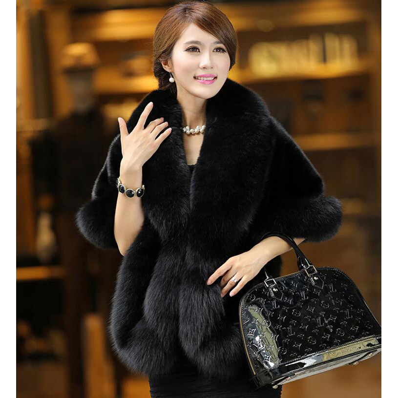 New Style Faux Fur Formal Dress Bride Cape Cloak Autumn Winter Women