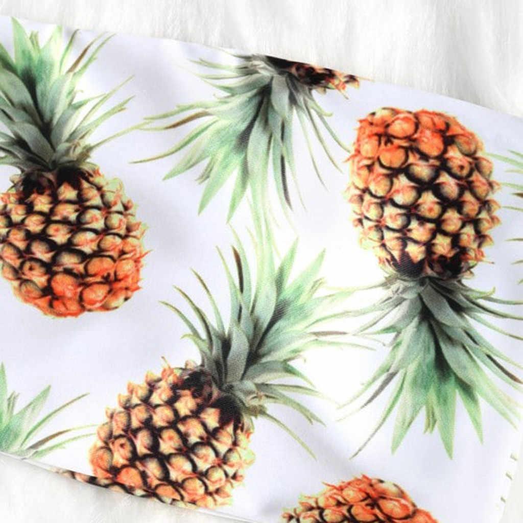 Bikini stroje kąpielowe kobiety 2019 bez ramiączek Bandeau Bikini Set strój kąpielowy garnitury ananas drukuj Biquini strój kąpielowy dla kobiet