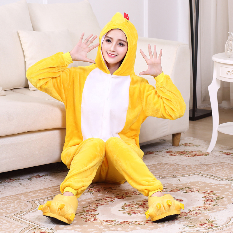Yellow Chick Kigurumi Onesie For Adults One-Piece Flannel Animal Pajamas For Halloween Jumpsuit Cosplay Party Costume Sleepwear (6)