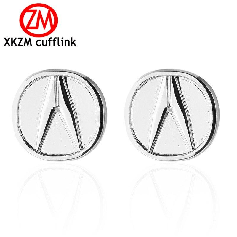 XKZM Luxury shirt silver round car logo cufflink for mens Brand cuff buttons cuff links High Quality abotoaduras Jewelry