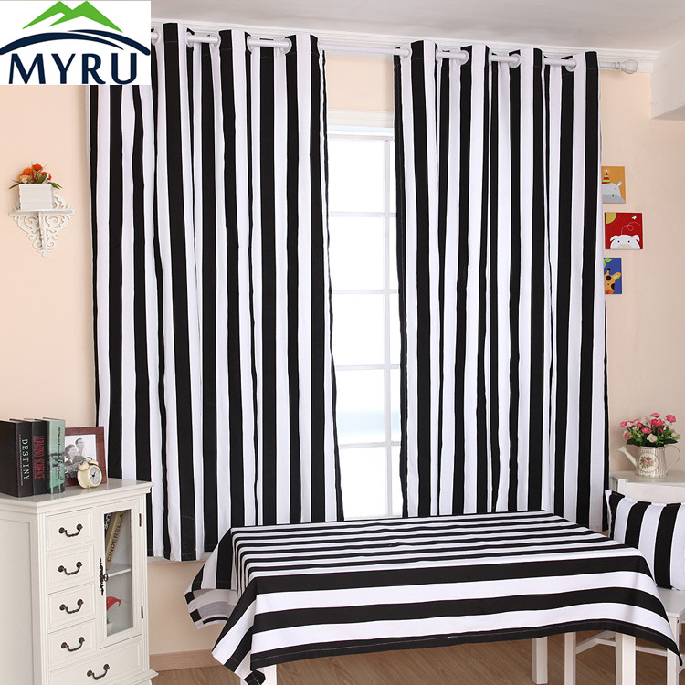 Myru Many Size Cloth Curtain Black And White Striped
