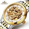 AESOP Luxury Watch Men Automatic Mechanical Wrist Wristwatch Gold Dragon Waterproof Male Clock Relogio Masculino Famous
