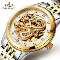 AESOP Montre De Luxe Hommes Automatique Mécanique Poignet Montre-Bracelet Or Dragon Mâle Étanche Horloge Relogio Masculino Célèbre Marque 40