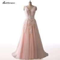 Blush Pink A Line Wedding Dresses with Appliques Lace Robe de mariage Tulle vestido de noiva Sweep Train Bridal Gowns