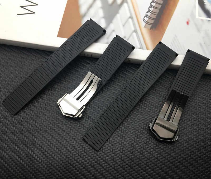 שחור רצועת השעון 22mm סיליקון גומי שעון חגורה עבור תג רצועת CARRER עבור Heuer להקת פרפר אבזם כונן טיימר כלים לוגו