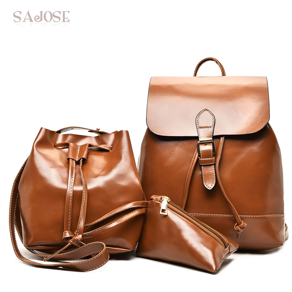 Leather Women's Backpacks With Purses 3 Sets Fashion Vintage Brown Backpacks for Teenage Girls Women Shoulder Bag DropShipping