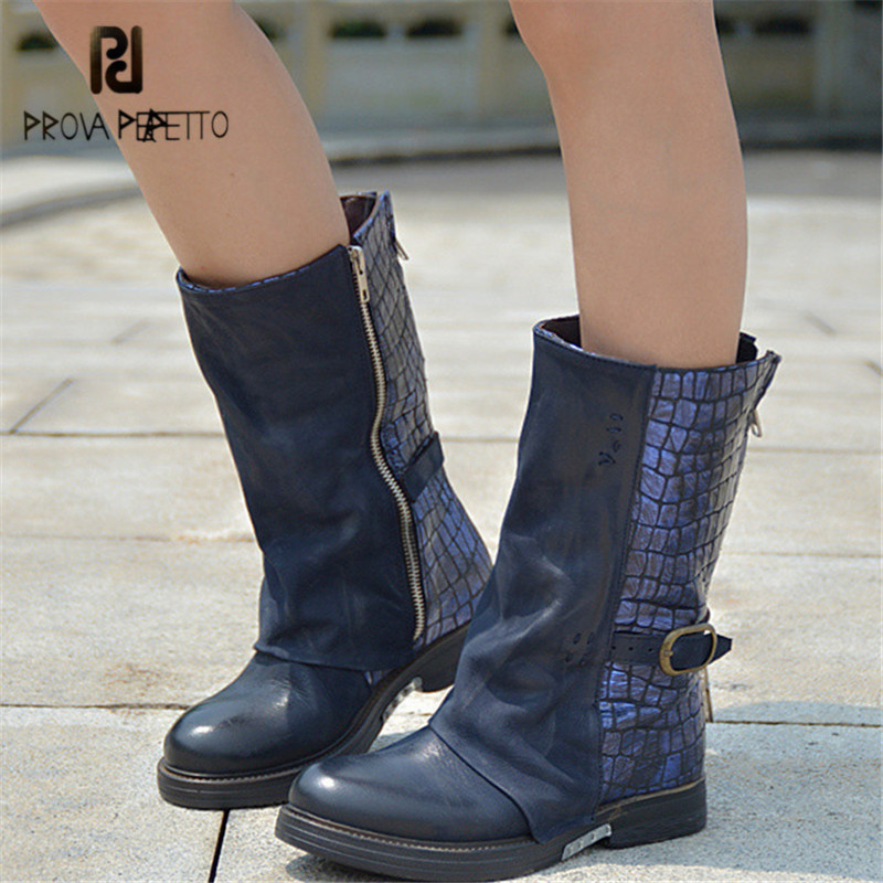 Prova Perfetto Blue Genuine Leather Boots Women Autumn Winter Martin Boot Mid-Calf Platform Rubber Shoes Women High Botas double buckle cross straps mid calf boots