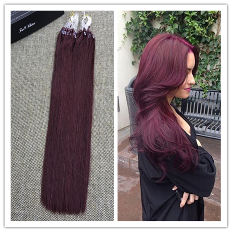 Full Shine 100 Cabello Humano Remy Real 50 Strands/Pack 50gram Micro Loop Hair Extensions Fashion Color #99J Micro Ring Loop