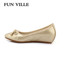 FUN VILLE 2018 Spring Women Flats Leather Height Increase Women Casual Shoes Round Toe Mother Shoes