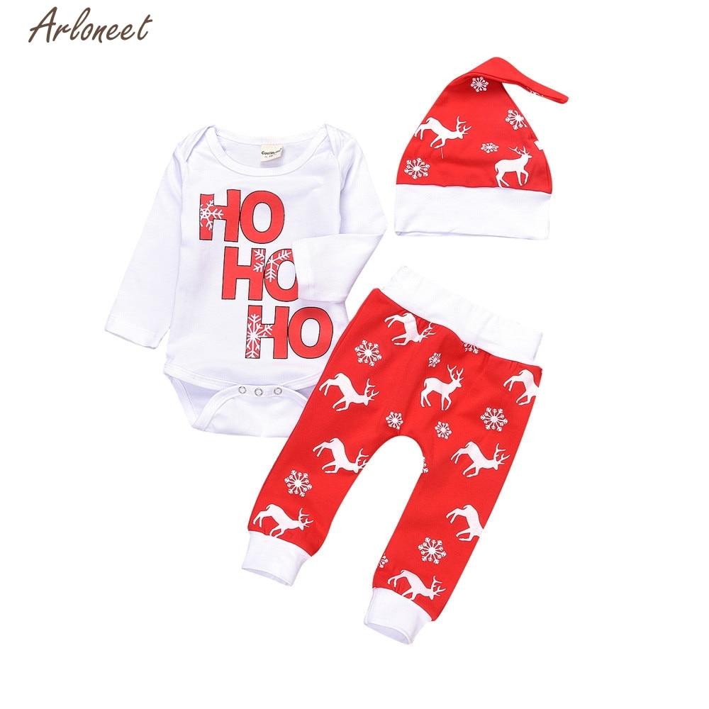 2017 FASHION Xmas Newborn Infant Baby Boy Girl Romper Tops+Pants Christmas Deer Outfits Set Y110930