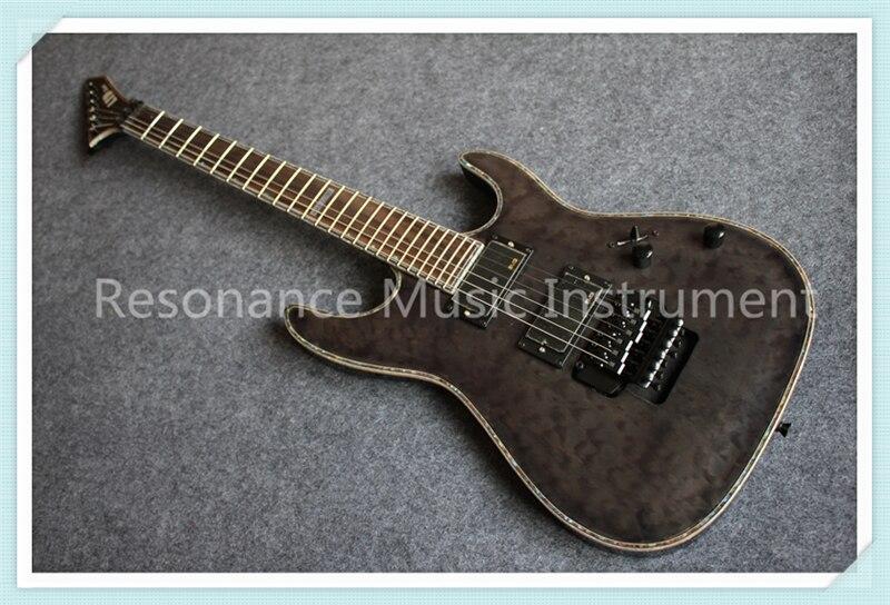 Nouveauté chine OEM bleu Grain de tigre finition Suneye corps de guitare électrique à travers la Version de chaîne de guitare à vendre