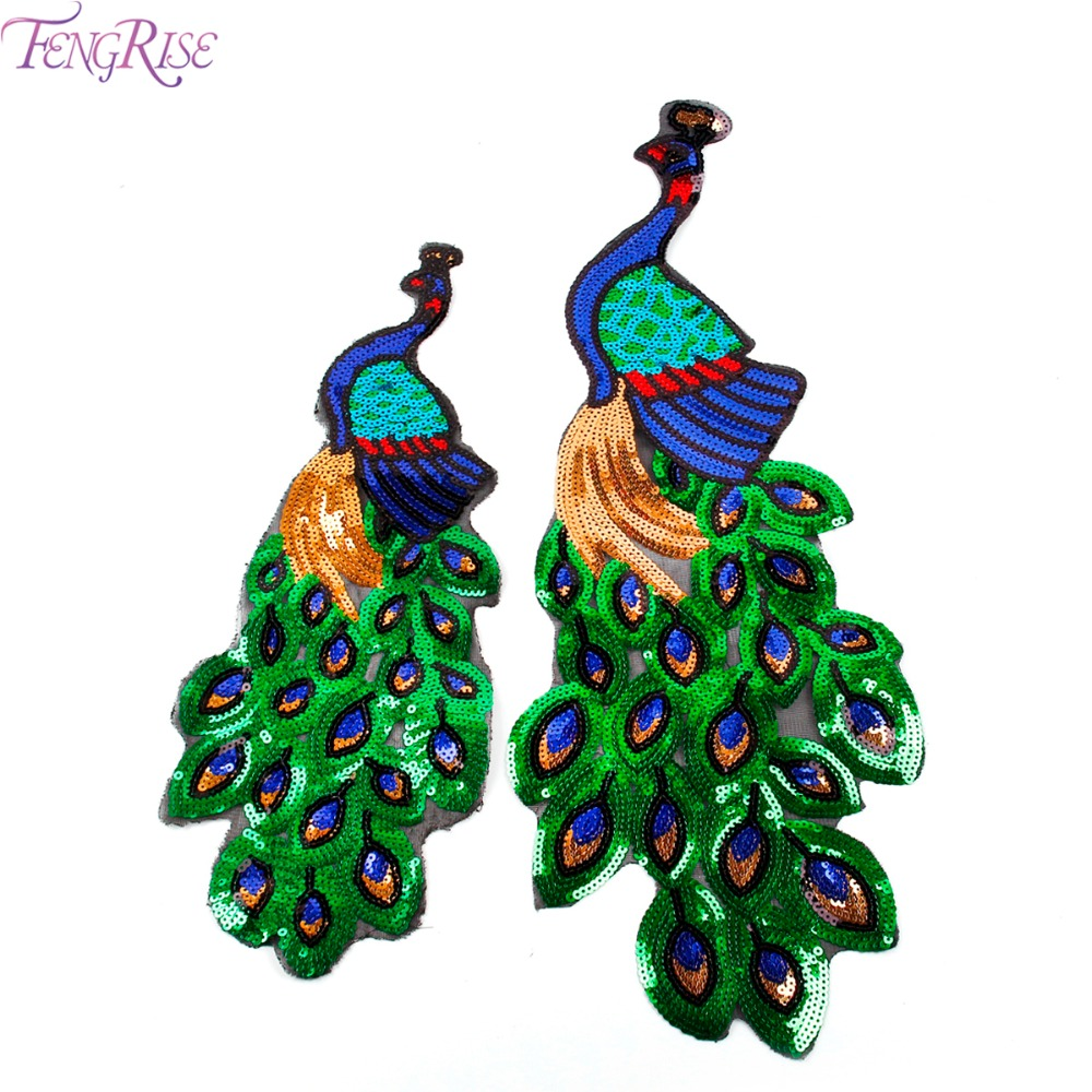 Buy Cheap FENGRISE Sequin Embroidery Peacock Patch Sewing On Fabric For Dress Cloth Motif Applique DIY Embroidered Patchwork Accessories