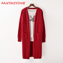 Фотография FANTASYONE 2017 Long Knitted Sweater Autumn Winter Cardigans Knitwear Long Sleeve Pockets Ladies Vintage High Quality Sweater