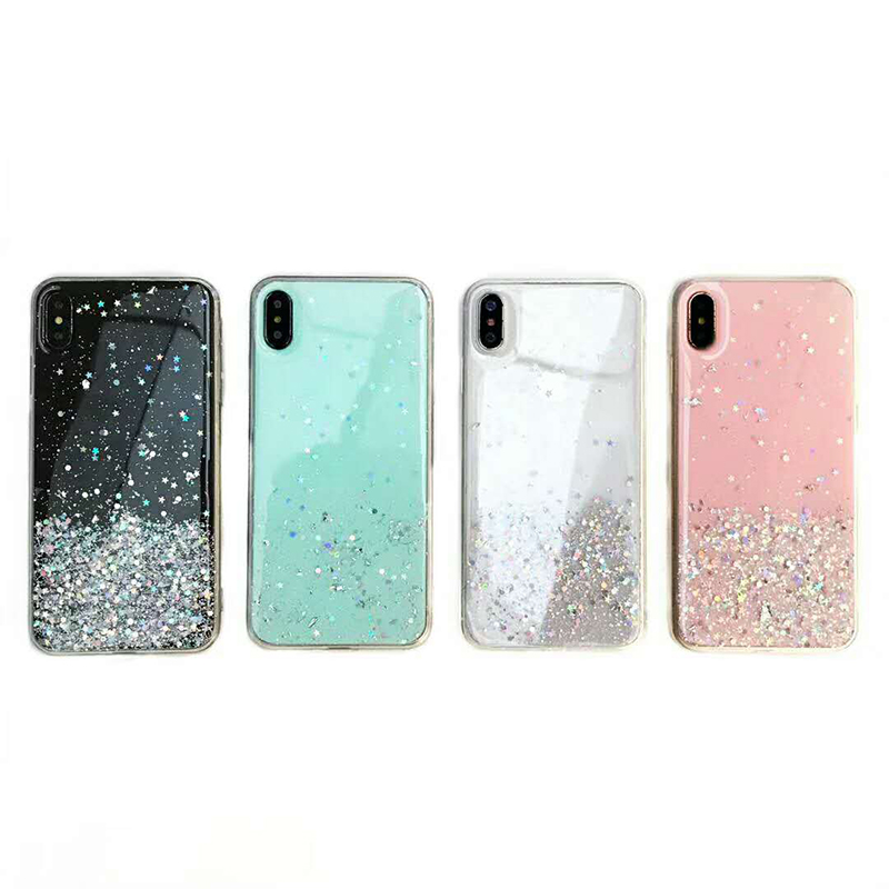 Fashion Glitter Bling Sequins Case For iphone 8 7 Plus 6 6s Epoxy Star Transparent Case For iphone X XR XS MAX 10 Soft TPU Cover in Fitted Cases from Cellphones Telecommunications