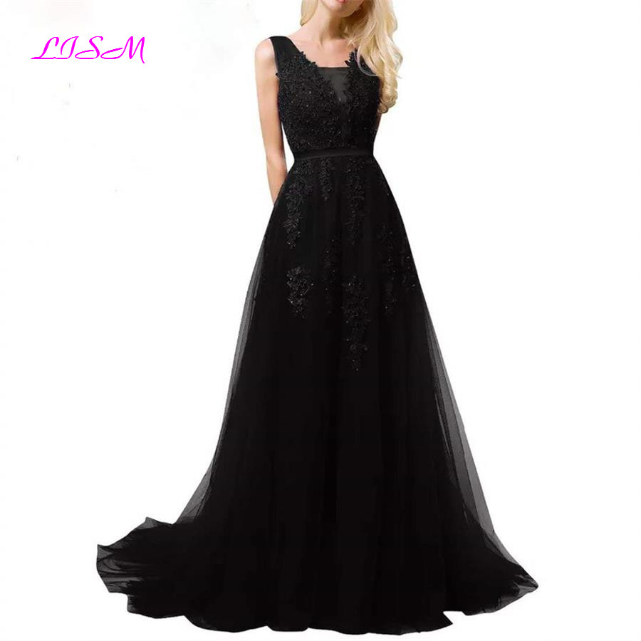 Exquisite Lace Appliques   Bridesmaid     Dresses   Long Tulle Beach Garden Wedding Guest Party Gowns Elegant V-Back Maid of Honor Wear