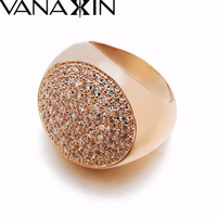 Punk Victoria Wieck Women Men Fashion Ring Rose 18 K Gold Platinum Wide Jewelry CZ Diamond