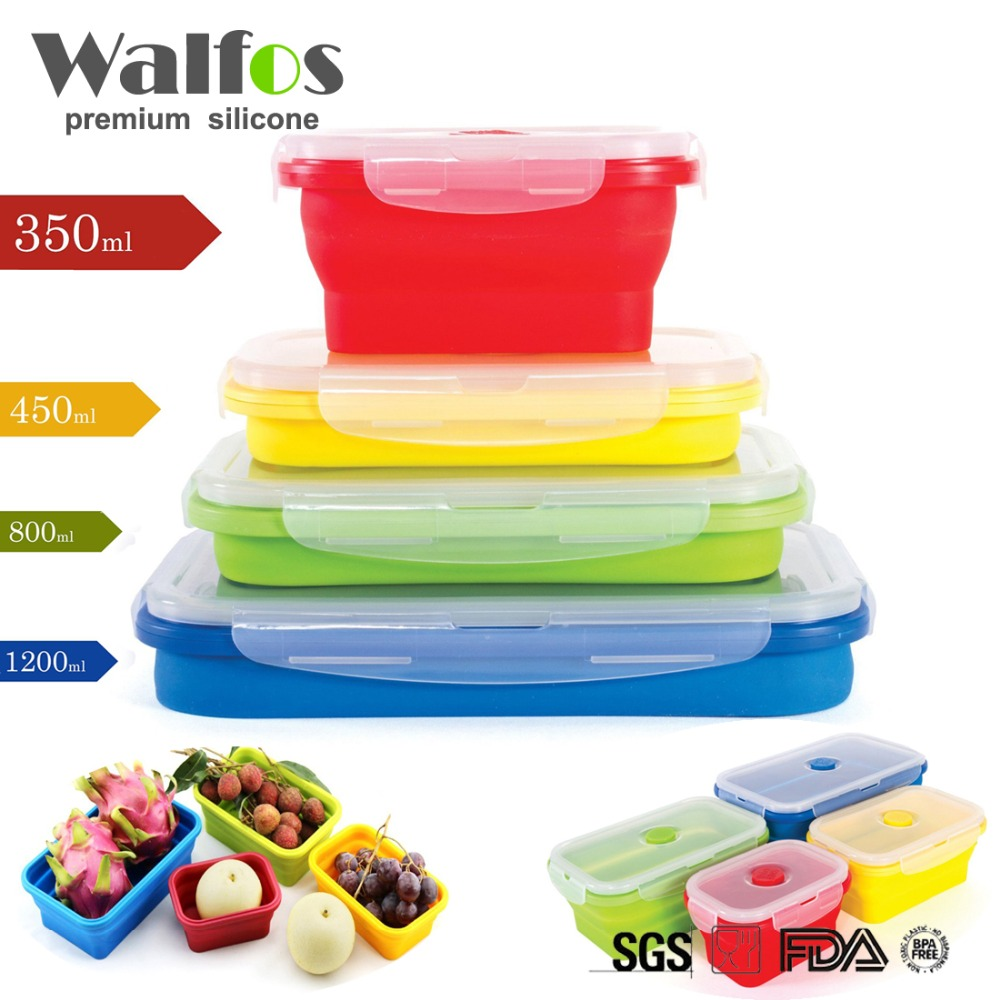 walfos 2017 new silicone collapsible portable bowl bento boxes folding food storage container in. Black Bedroom Furniture Sets. Home Design Ideas