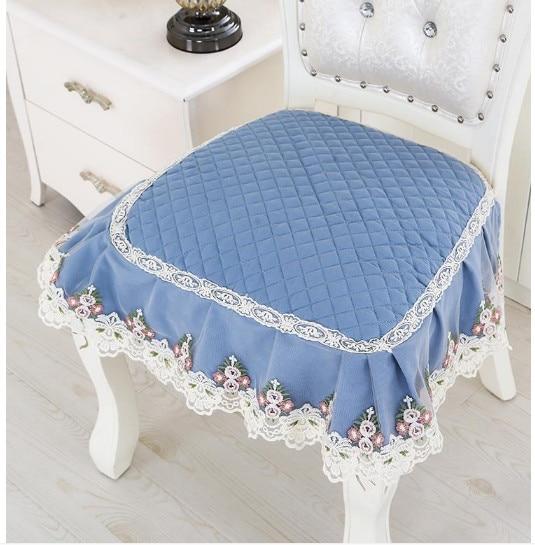 Luxurious Embroidery Velour Home Decor Cushion Decoration Palce Lace Cushion 2PCS Restaurant Cafe Chair Cushion Pad Four Seasons