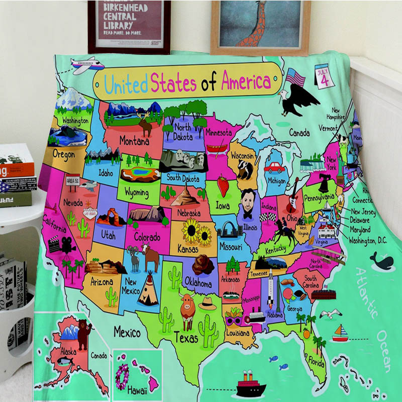 Blankets Comfort Soft Plush Cozy Easy Care Machine Wash Cute Cartoon Map of the United States Warm Throw Blanket For Sofa Bed