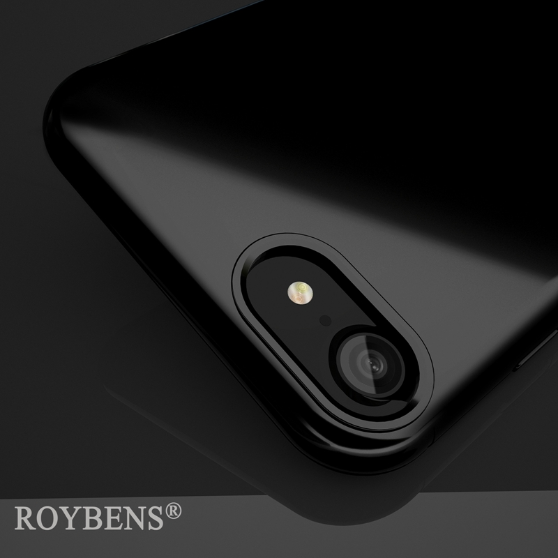 Roybens Case For iPhone 7 Plus iPhone 7 Jet Black Case Luxury Original Glossy Soft Silicone Durable TPU Shockproof Phone Cover