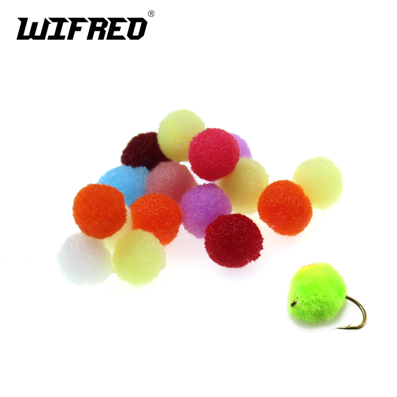 Wifreo 50Pc 8mm 10mm Colorful Synthetic Fishing Fly Tying Material Eggs Roe Imitate Trout Salmon Fish Bait Natural Fishing Lures