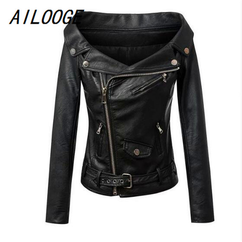 AILOOGE Autumn Women Faux Leather Jacket Off Shoulder Motorcycle Jacket Short Slim Basic Jacket Women Biker Coat Punk Outwear