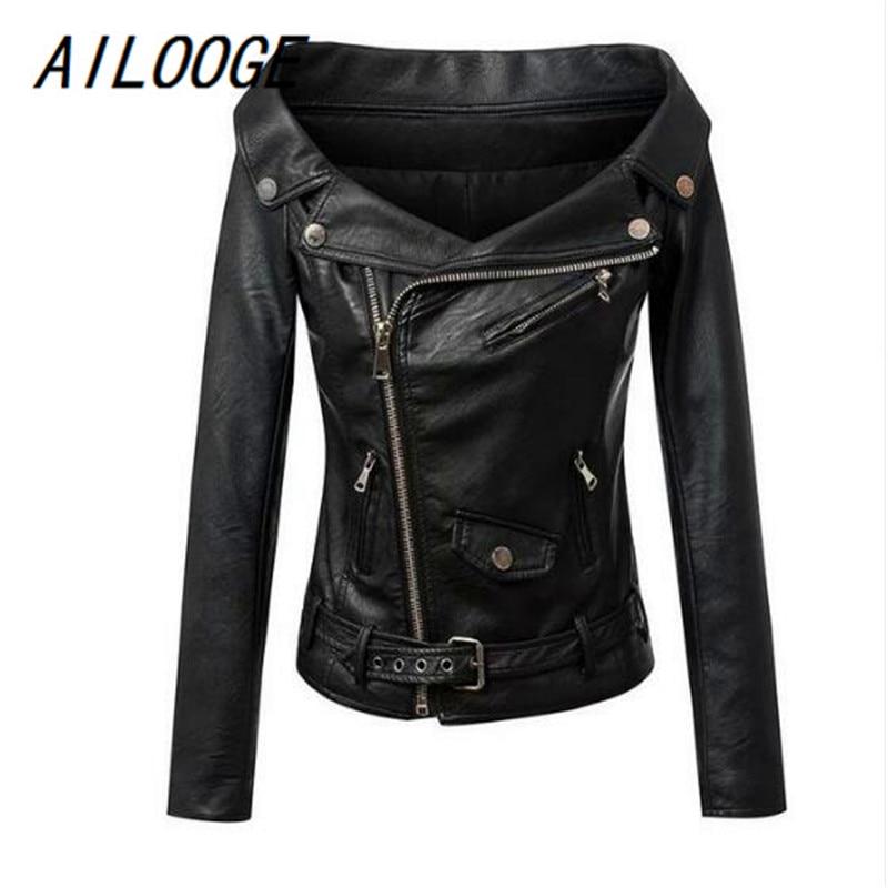 AILOOGE Autumn Women Faux Leather Jacket Off Shoulder Motorcycle Jacket Short Slim Basic Jacket Women Biker Coat Punk Outwear