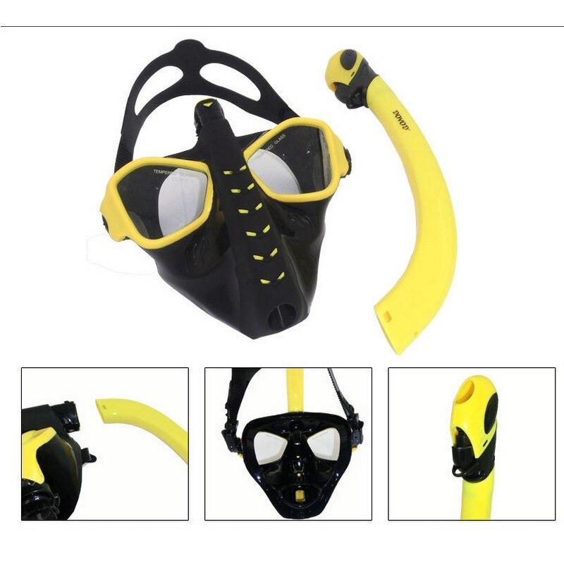 Plein Sec Plongée Masque Plongée En Apnée Masque de Silicone Plongée Maske Mascara Buceo Plein Visage Masque Tuba Plongee Nager Masque Pour Adulte - 4