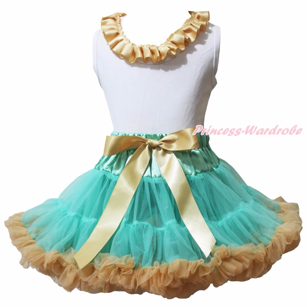 It's My Half Birthday Plain White Cotton Top Lacing Aqua Blue Gold Khaki Girls Skirt Clothing Set 1-8Y my 1st christmas santa claus white top minnie dot petal skirt girls outfit nb 8y