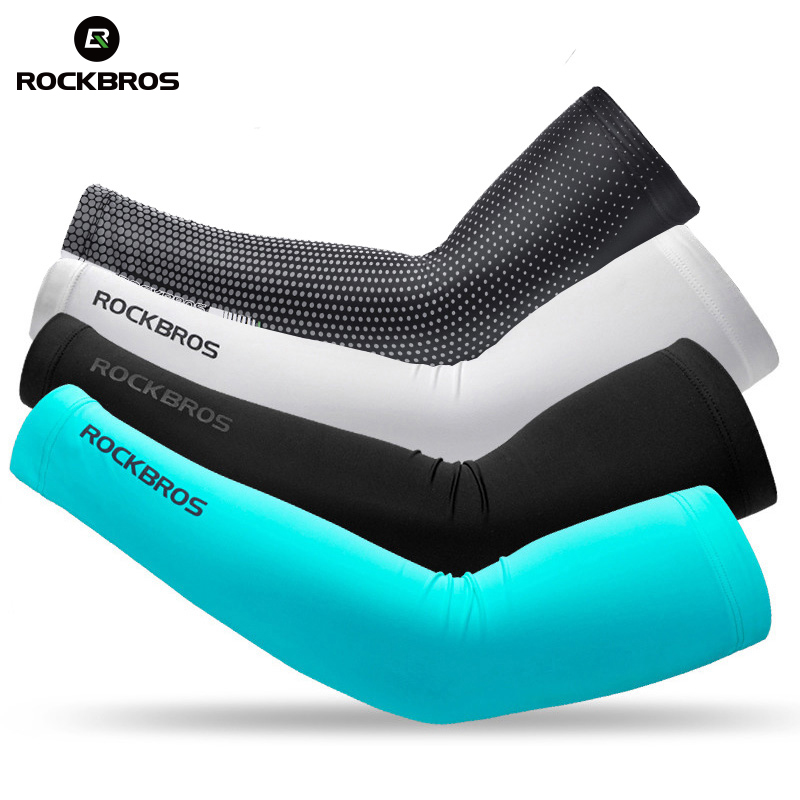 ROCKBROS Ice Fabric Cycling Arm Warmers Basketball Sleeve Running Arm Sleeves Bicycle Arm warmers Camping Summer Sports Safety grabber warmers ultra